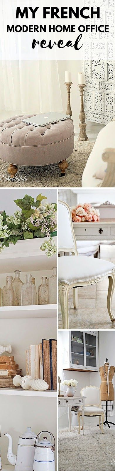 Modern feminine french style office in white reveal.  Come see my beautiful French Modern Home Office Reveal on ShabbyFufu Blog.
