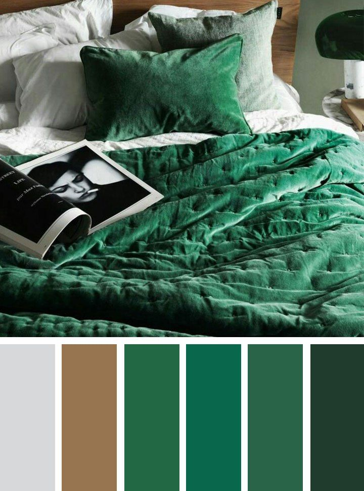 Find 1000s color inspiration for those who love color,The Best Color Schemes for Your Bedroom,Green emerald and grey bedroom color schemes