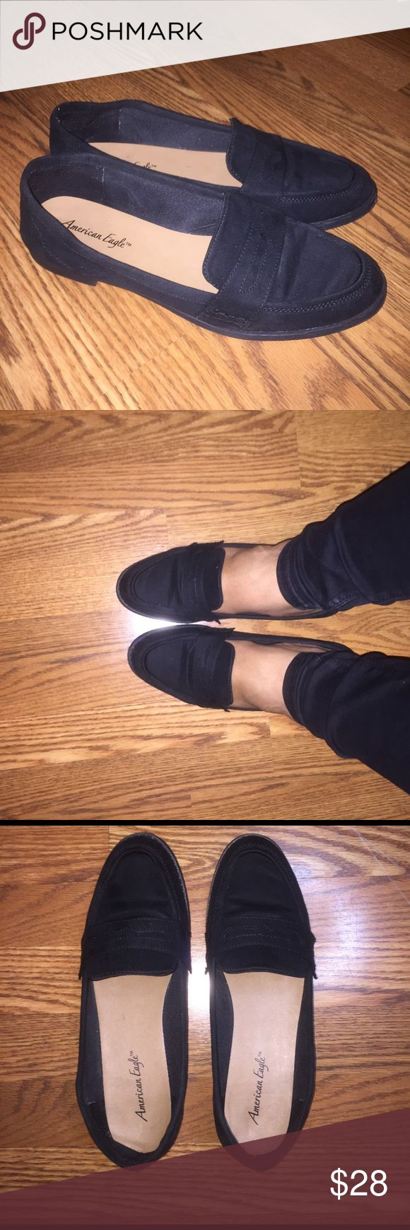 Black Suede Loafers Moccasins Size 12 Business Perfect shoes for the stylish and classy girl! Hard to find cute business loafers in a size 12. Only used once all day, so very minor wear. American Eagle by Payless Shoes Flats & Loafers