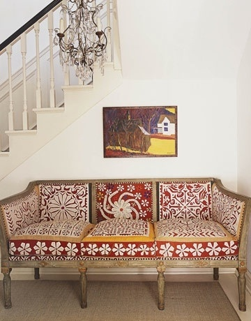 seating and art: Benches, Couch, Interiors, Pillows Patterns, Blocks Prints, Fabrics, House, Sofas, Decor Blog