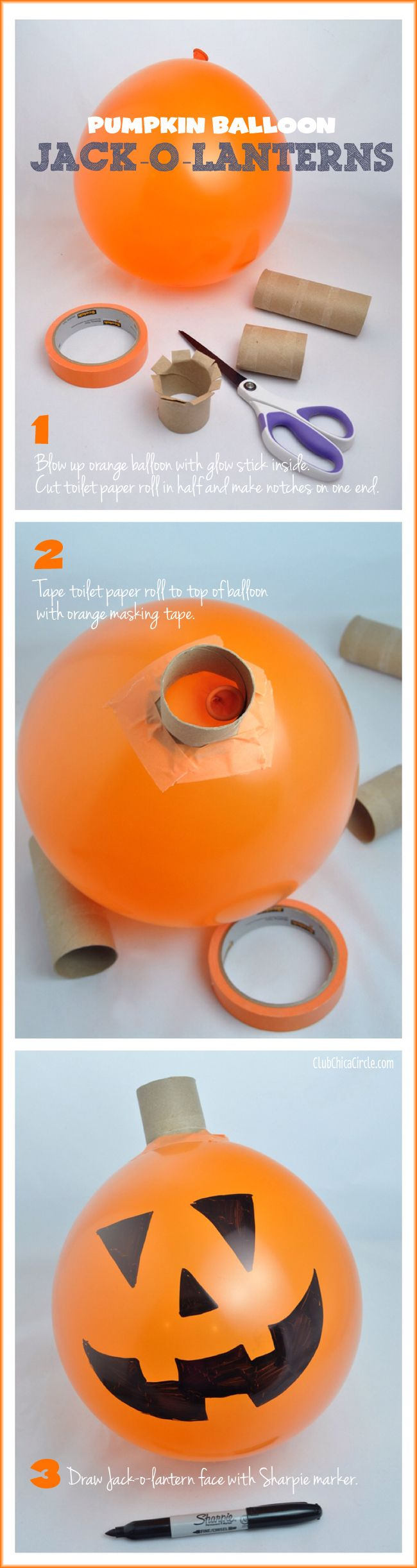 Pumpkin Balloon Halloween Party Craft Idea DIY - great last minute party or classroom activity for kids. All you need is toilet paper rolls, orange balloons, tape, and a Sharpie marker! #CottonelleTarget #PMedia #ad