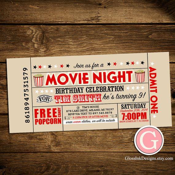 Movie Night Invitation - Vintage Ticket Style Birthday Boy Girl Twins, Adult Party Outdoor, Popcorn Theater Typography Digital Printable DIY