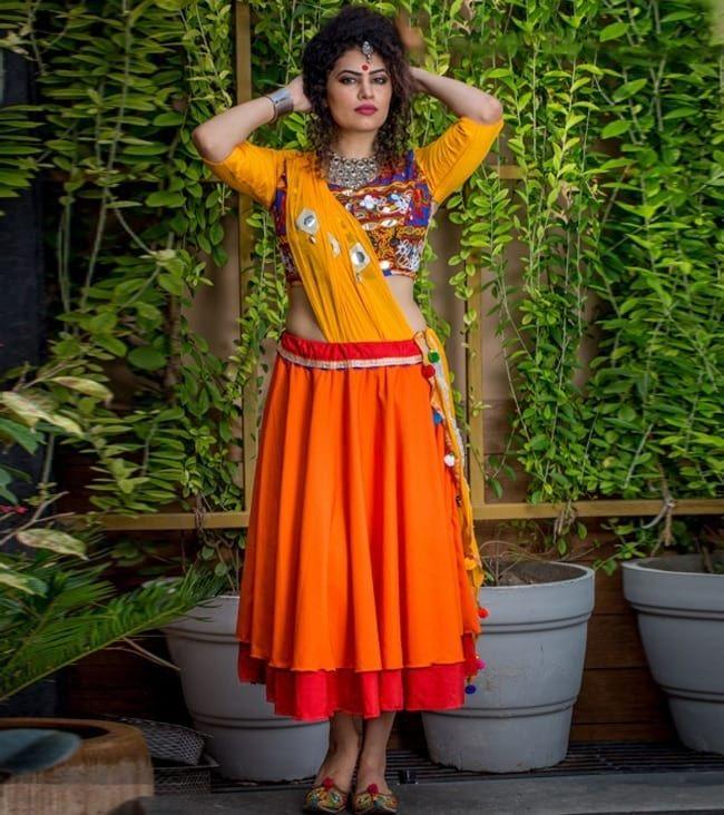 Orange Mirror Worked Chaniya Choli with Pom Pom