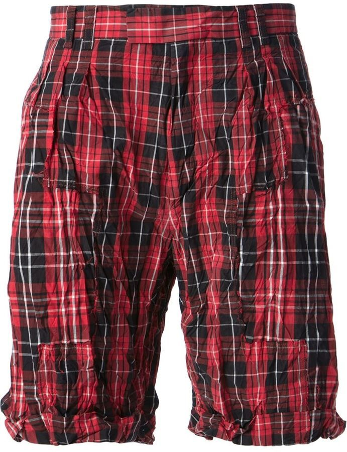 $252, Red Plaid Shorts: McQ by Alexander McQueen Mcq Alexander Mcqueen Check Shorts. Sold by farfetch.com. Click for more info: https://lookastic.com/men/shop_items/246853/redirect