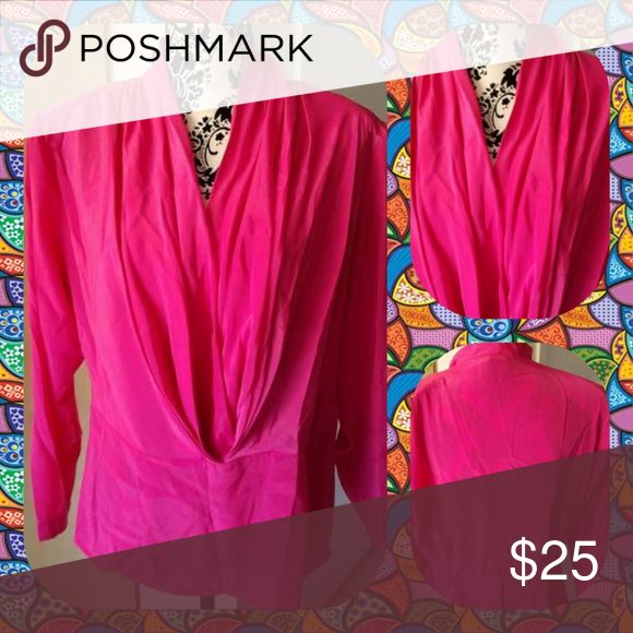 DAVID MATTHEW HOT PINK BLOUSE LIKE NEW! WORN 1 TIME! HOT PINK POLYESTER BLOUSE. GREAT SUIT OR OFFICE ATTIRE. SIZE 10 DAVID H Tops Blouses