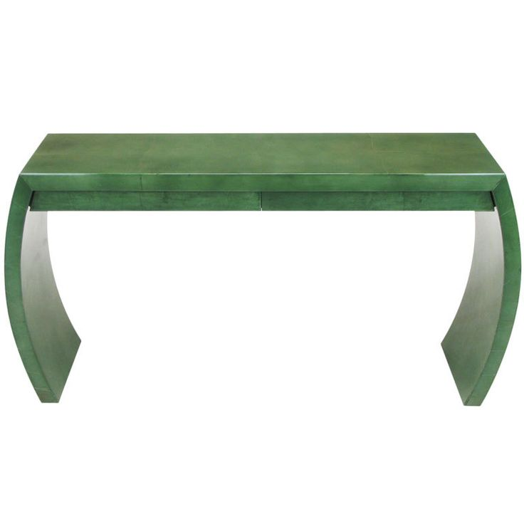 Blue Green Goatskin Console Table After Karl Springer
