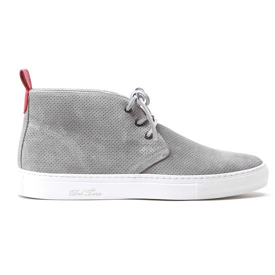 Grey Perforated Suede Chukka Sneaker   Del Toro
