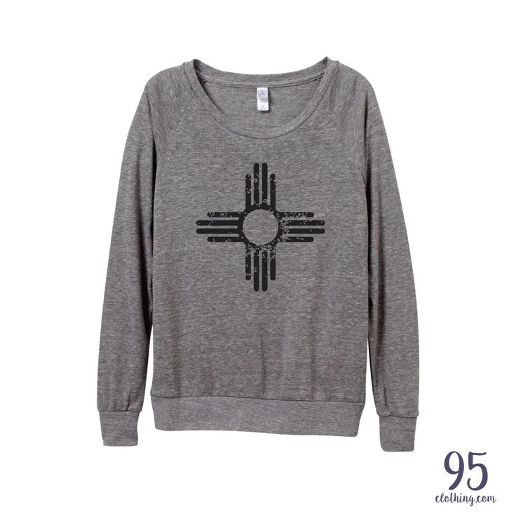 Large- grey New Mexico Shirt. New Mexico Zia. New Mexico Flag. Women's Clothing. by ninety5prints on Etsy https://www.etsy.com/listing/253000045/new-mexico-shirt-new-mexico-zia-new