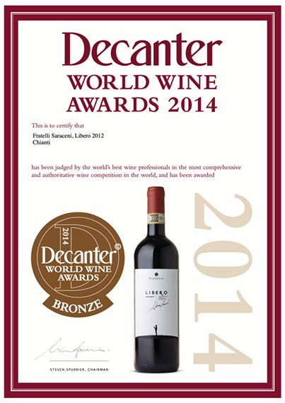 Fratelli Saraceni #Libero #Chianti 2012 wins Bronze medal in the 2014 Decanter World Wine Awards, the world's largest wine competition!!  Thanks to all our customers and fans! #FratelliSaraceni #Tuscany #Chianti #Libero