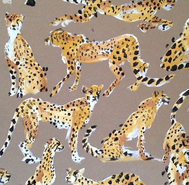Leopards, by Donald Drawbertson, fashion illustration.