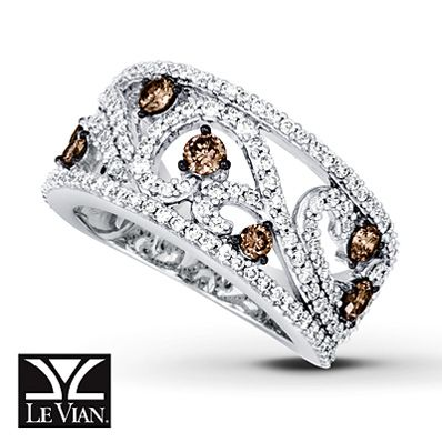 I LOVE this ring!!!  Chocolate diamonds are definitely growing on me!    Chocolate Diamonds® Ring 1 1/3 ct tw Round-cut 14K Vanilla Gold