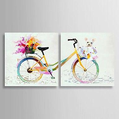 olieverf stilleven kleurrijke fiets met gestrekte kader set van 2 met de hand beschilderd doek 1653116 2016 – €142.09