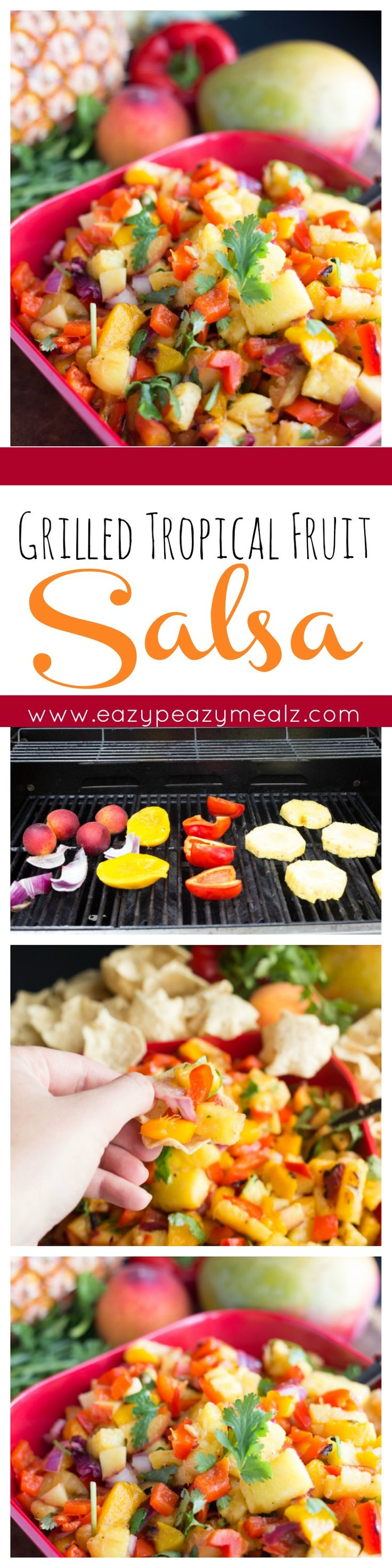 Fruit salsa made from grilled tropical fruit like mangos and pineapples, with the addition of sweet peaches, red peppers and onions, and of course cilantro and limes, essential salsa ingredients. - Eazy Peazy Mealz