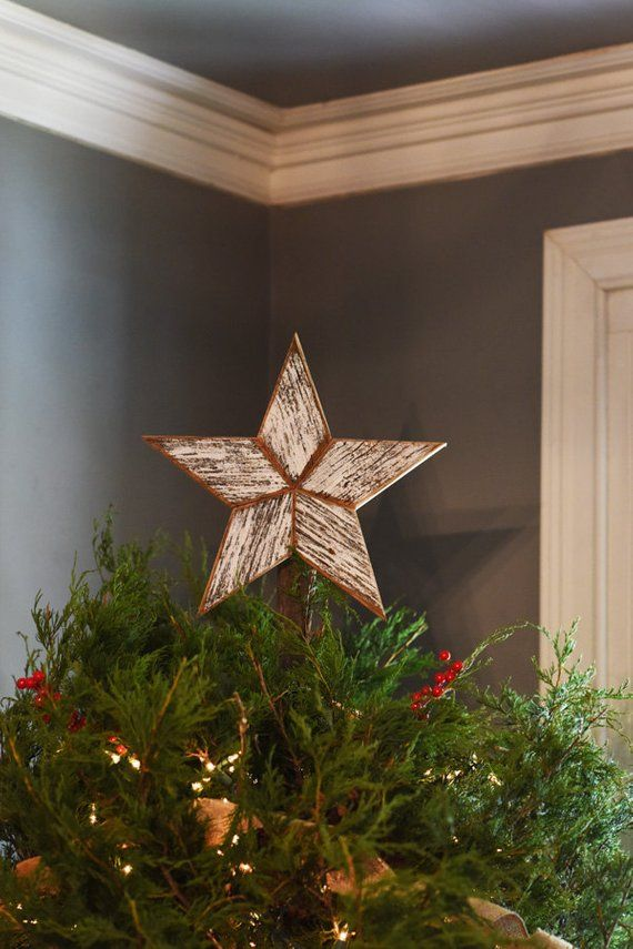 White Star Christmas Tree Topper Decoration 10 Inch Star Tree Topper Made From White Reclaimed Wood Star Tree Topper Wooden Christmas Decorations Tree Toppers
