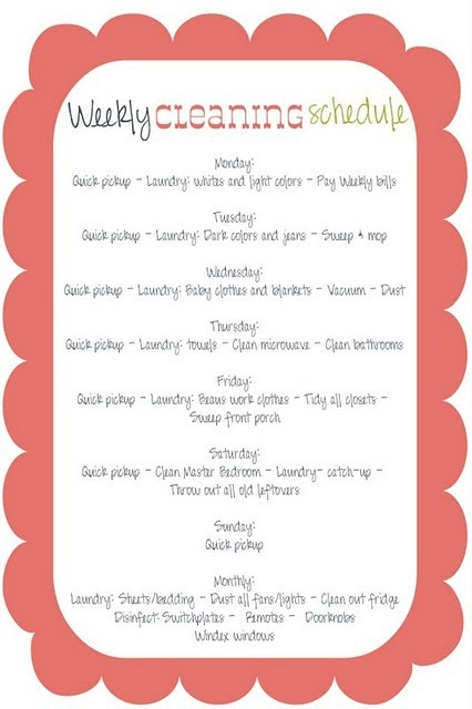 weekly cleaning schedule - scallop: