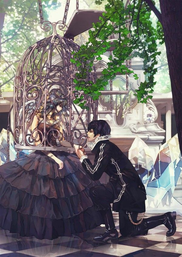 Caged in Love...  illustration, art, anime