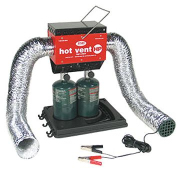 20,000 BTU Hot Vent tent heater Provides unlimited SAFE heat and increases input air temperature in seconds. Case lid detaches to hold propane cylinders Powerful 12 volt blower provides great air flow (requires 12 volt DC supply) 3 ft flexible input & output accordion style hoses. SAFE design - heater stays outside and no carbon monoxide enters tent Enjoy 3 to 8 hours of heat with one 16 oz propane cylinder Stainless steel burner construction.