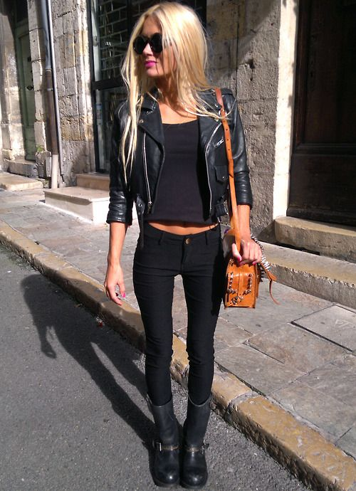 Women's fashion - style - cute outfit - hot - sexy - edgy - blonde - handbag - skinny jeans - concert outfit
