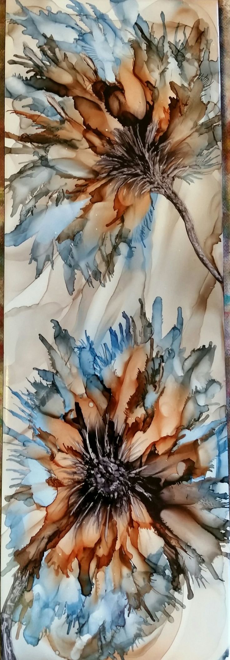 Flowers in alcohol ink on 12x4 ceramic tile by Tina