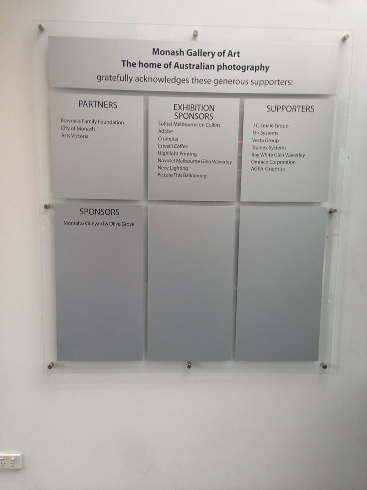 Monash Gallery of Art Sponsor Board as of 2104