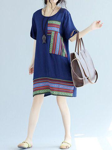 Vintage Women Patchwork Short Sleeve O-neck Dresses