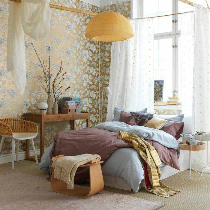 wohnungseinrichtung boho stil schlafzimmer wanddekoration wandtapeten - Niedliche Noble Schlafzimmerideen