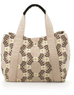 Lattice Flower Tote.  A large jute cotton holdall bag with pretty hand printed Orla Kelly floral print.  Leather trims and all for AU$58