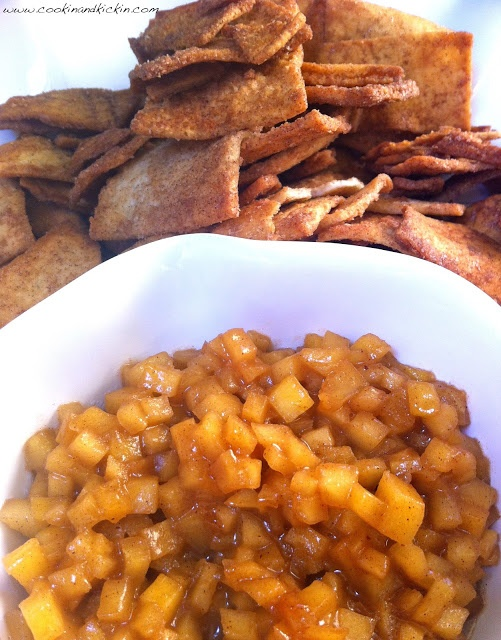 Apple Pie Dip served with Stacy's Cinnamon and Sugar Pita Chips.