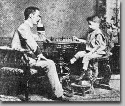 Paul Morphy (right) is winning a chess game