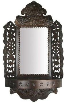 Punched Border Mirror with Shelf traditional mirrors