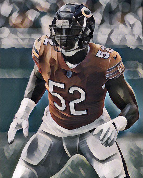 Khalil Mack Chicago Bears Abstract Art 10 Art Print By Joe Hamilton Nfl Football Art Chicago Bears Oakland Raiders Logo