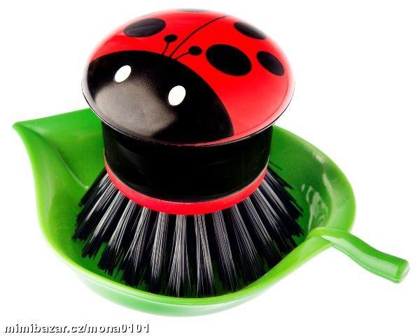 Lady bug dish brush and tray