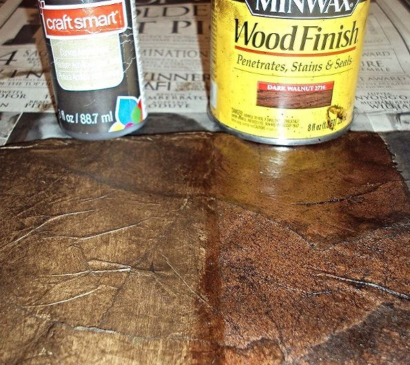 how to create a faux leather finish using brown paper, painted furniture, repurposing upcycling, Here is a closer look at the Raw Umber Craft Paint L next to the Dark Walnut Stain R Note the black paint in the prior example was diluted with water and will need another coat once dry The samples were still wet in the photo
