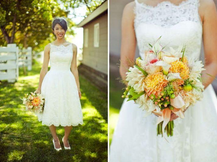 Yellow Tea Length Wedding Dresses