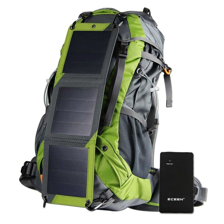 ECEEN Solar Powered External Frame Pack Sun Charged Hiking Backpack with 10 Watts Solar Charger Panel and  10k mAh Battery Pack for Cell Phones, Tablets, Digital Cameras Etc. 5v Device Charge ** Want to know more, visit the site now : Day backpacks