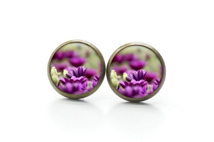 Ohrringe, Blumen, Lila, Violet, Earrings, flowers, purple,   https://www.justtrisha.com/de/ohrstecker-creolen-violette-magariten-blumen.html