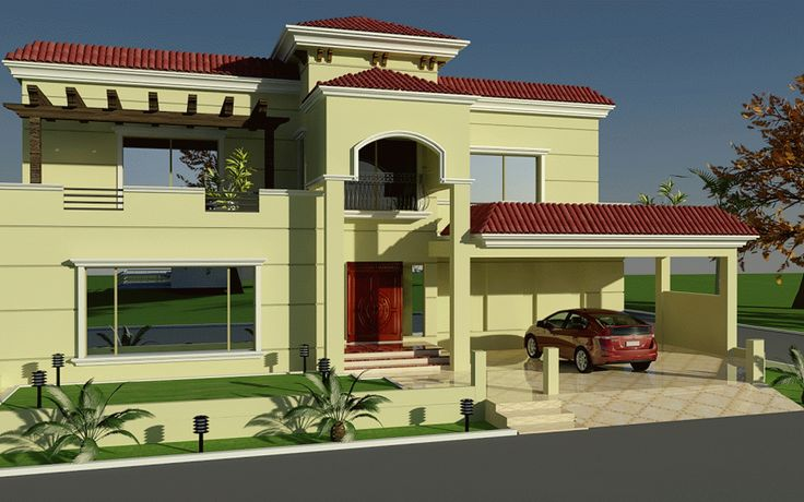 60' X 100' Wapda Town 1 Kanal House Design 3D Front elevation in Lahore, Pakistan