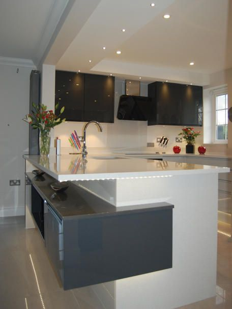 Open Shelving Area On The Peninsula Looks Stunning On This Contemporary  Kitchen In A Mix Of