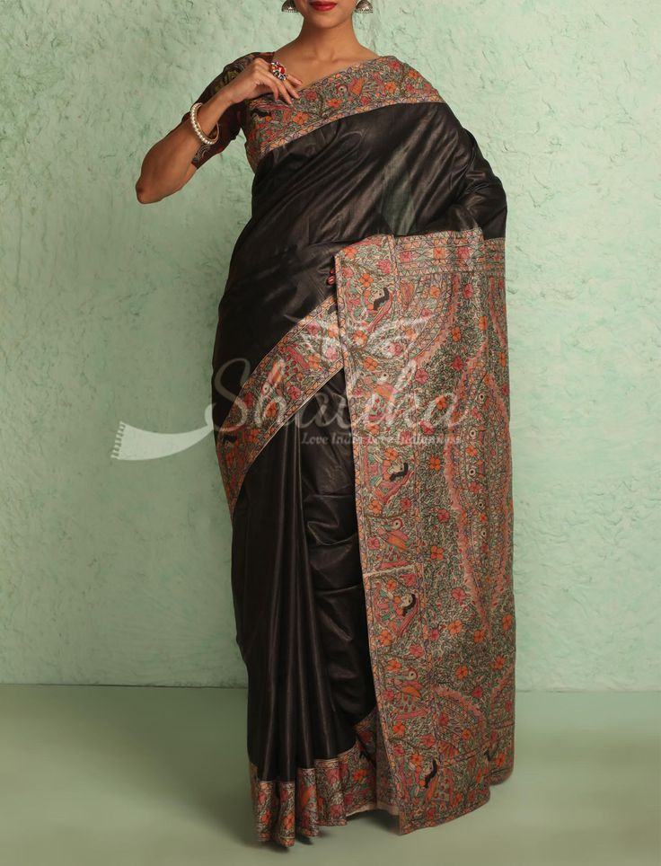 Vaishnavi Plain Coal Black With Intricate Handpainted Border Pallu Madhubani Silk Saree