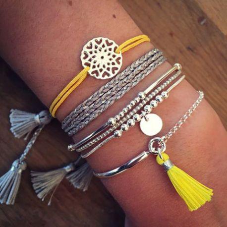 Composition de bracelets jaunes en argent - L'Atelier d'Amaya