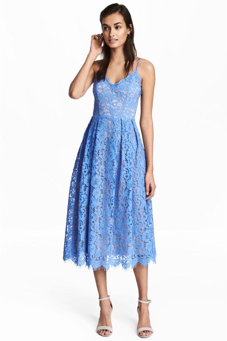 Kanten jurk - Blauw - DAMES | H&M NL