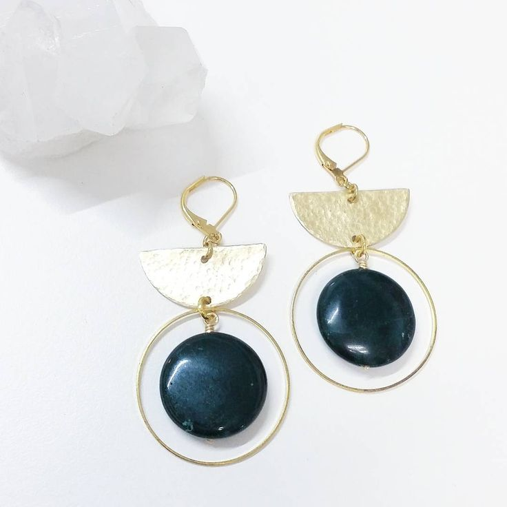 124 Likes, 6 Comments - TOODLEBUNNY (@toodlebunny) on Instagram: Hand textured brass geometric earrings, with deep green ocean jasper