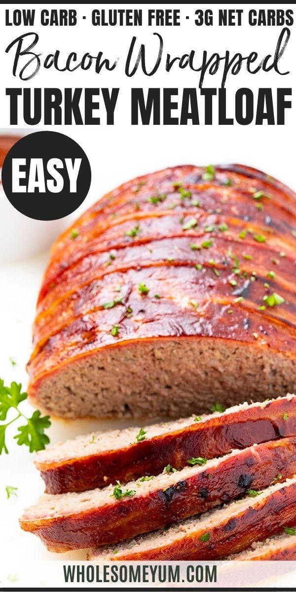Bacon Wrapped Keto Turkey Meatloaf Recipe In 2020 Turkey Meatloaf Turkey Meatloaf Recipes Meatloaf Recipes