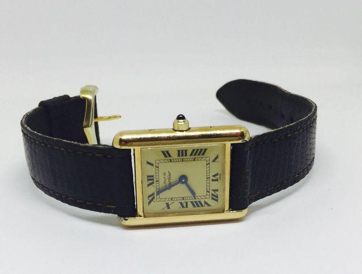 Vtg Must de Cartier Watch Ladies Blue Sapphire Argent Tank Vermeil GP Working | eBay