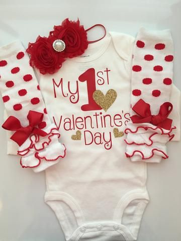 Baby Girl Outfit   Baby Valentines Day Outfit   Valentines Photo Shoot Prop    My 1st