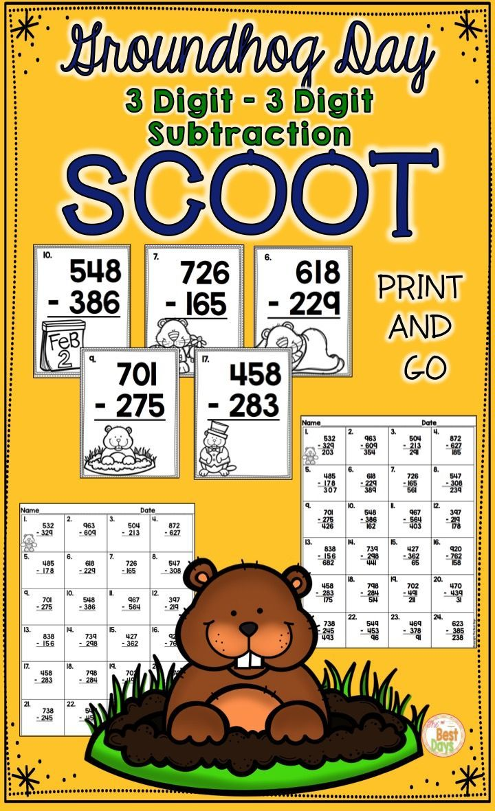 Are you looking for a fun way to practice 3 digit subtraction with regrouping!  This SCOOT game is just what you need!  Each card has a cute Groundhog Day picture and a subtraction with regrouping problem to practice.  The student answer page come with the problems already on it, so kids can SCOOT in less time while practicing an important skill!  Print and Go ready!  Find it now at The Best Days!