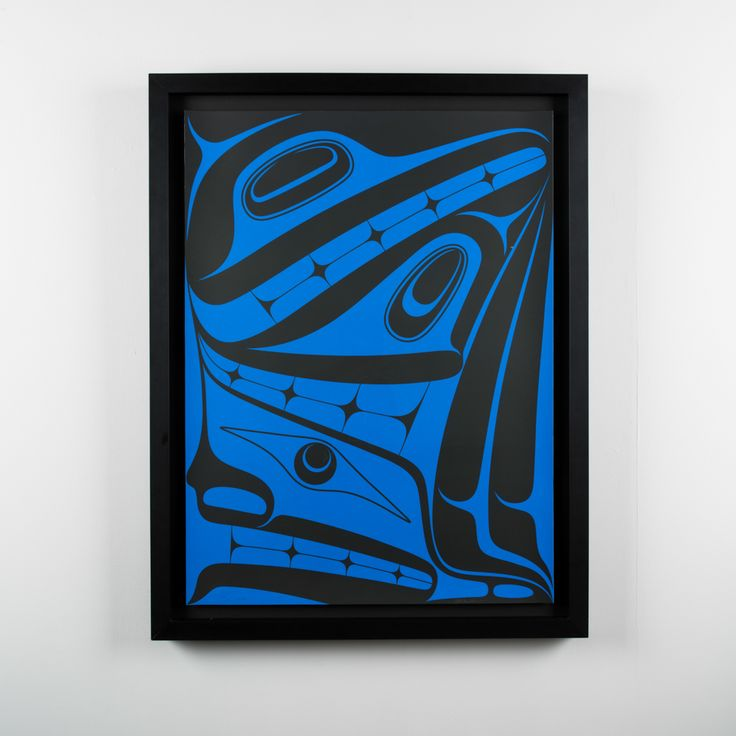 The concept for this print is based on an old Haida Raven story where voices can be heard speaking from the shadows,but the figures cannot ...