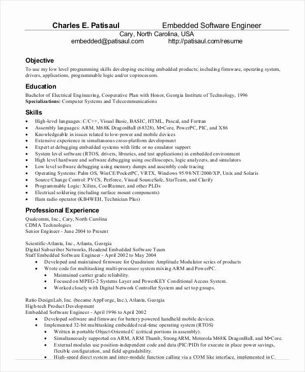 Embedded Software Engineer Resume Lovely Software Engineer Resume Example 10 Free Word Pdf Documen Resume Software Engineering Resume Templates Resume Examples