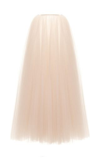 Illusion Tulle Plisse Long Skirt by Rochas for Preorder on Moda Operandi