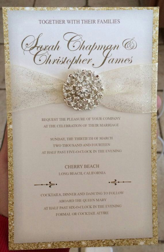 Luxurious Gold Glitter Wedding Invitation with Round